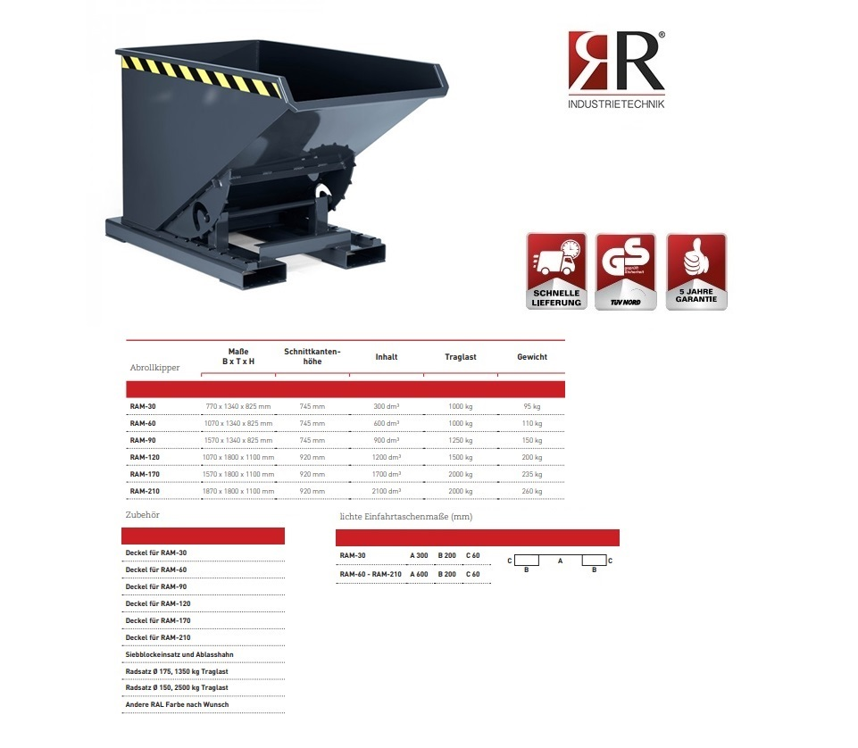 Kantelbak Typ RAM-30 RAL 7016