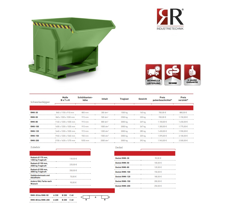 Zware lastenkieper RMK-30 RAL 6011