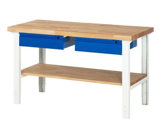 Werkbank Basic-702AHV 1 x plank 2 x lade 1500 x 700 x 790-1140mm