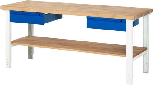 Werkbank Basic-702AHV 1 x plank 2 x lade 2000 x 700 x 790-1140mm