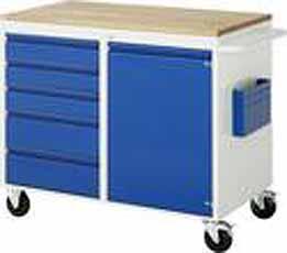 Verrijdbare werkbank Basic 503-B2 5 x lade 1 x deur Beuken top