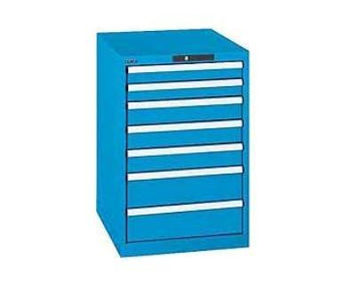 Ladekast Selection RAL 5012 850x717x725mm 7 lades Sleutelslot 200 kg Lista