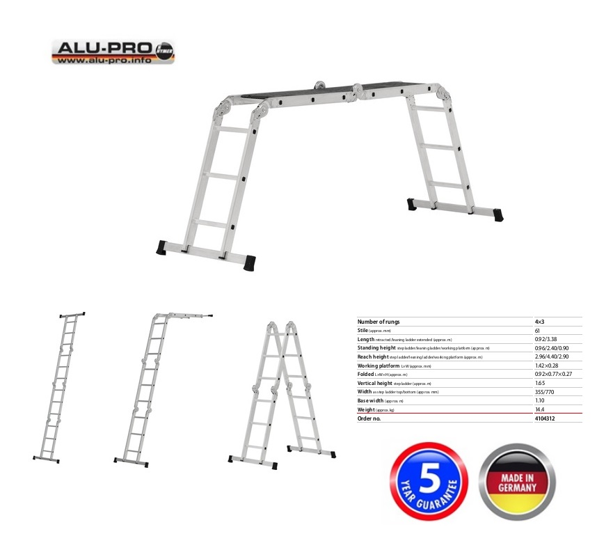 Vouwladder MULTIMATIC 4x3 sporten Krause 120632
