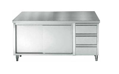 Werktafel roestvrijstaal met duwdeuren en ladeblok 1400x700x850mm