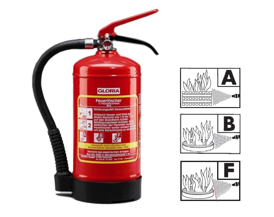 Vet brandblusser klasse F 3 liter Gloria W3DFC