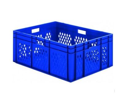 Transportbak gaas gesloten bodem Stapelbaar 400x300x120mm blauw