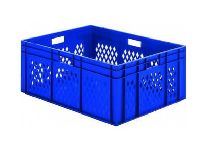 Transportbak gaas gesloten bodem Stapelbaar 600x400x210mm blauw