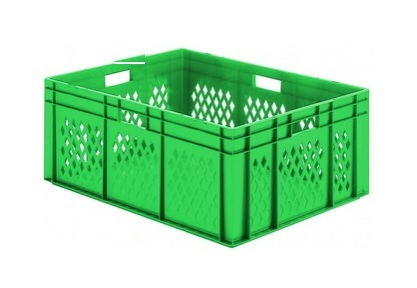 Transportbak gaas gesloten bodem Stapelbaar 800x600x210mm Groen