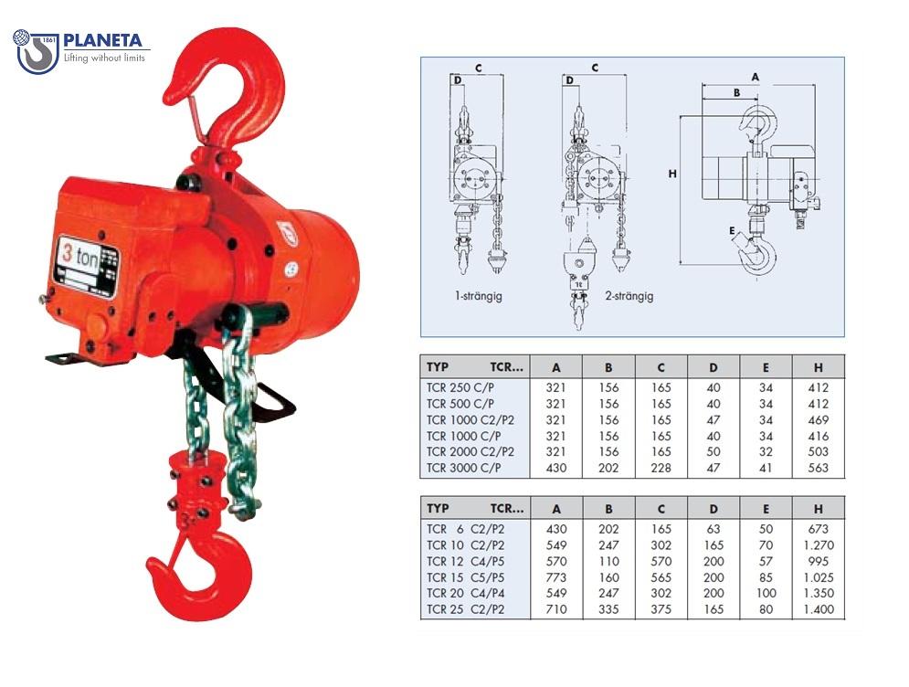 Luchtkettingtakel TCR 0,25 T Touwbediening Planeta H10001