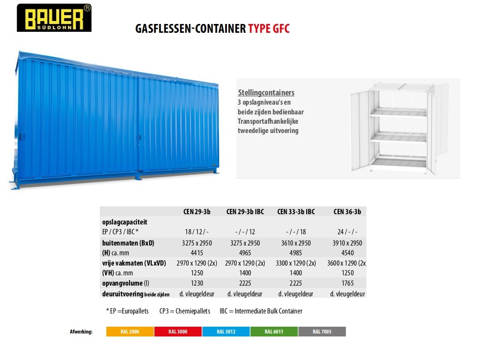 Stellingcontainer CEN 29-3 b RAL 5012