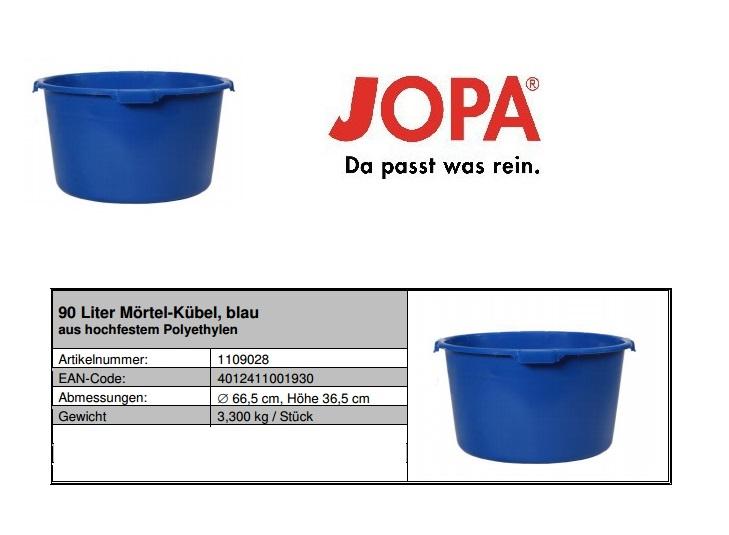 Mortelbak Inhoud 90l, blauw met versterkte bodem