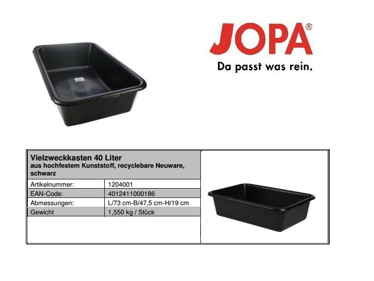 Multifunctionele kuip inhoud 40l binnenmaat 650x400x180mm zwart