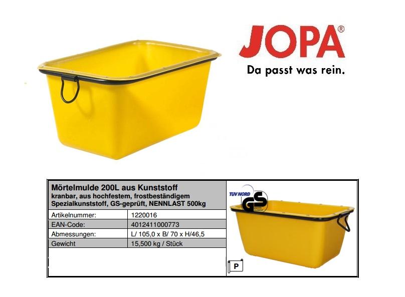 Prefabmortelbak inhoud 200l geel