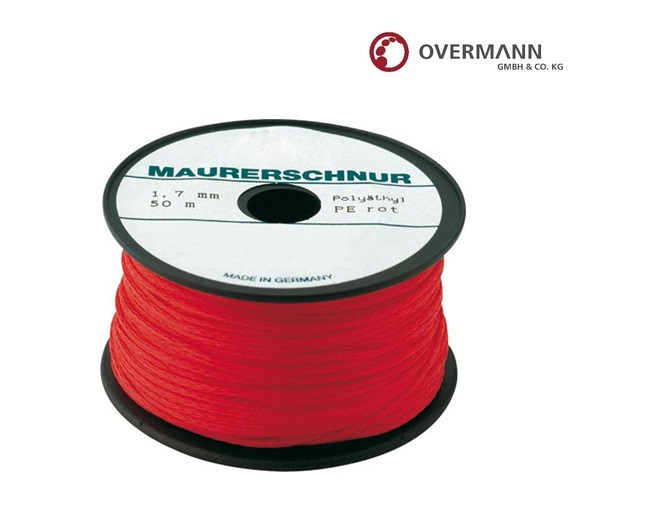 Metselaarskoord L. 100 m,d. 2,0 mm rood van polyethyleen