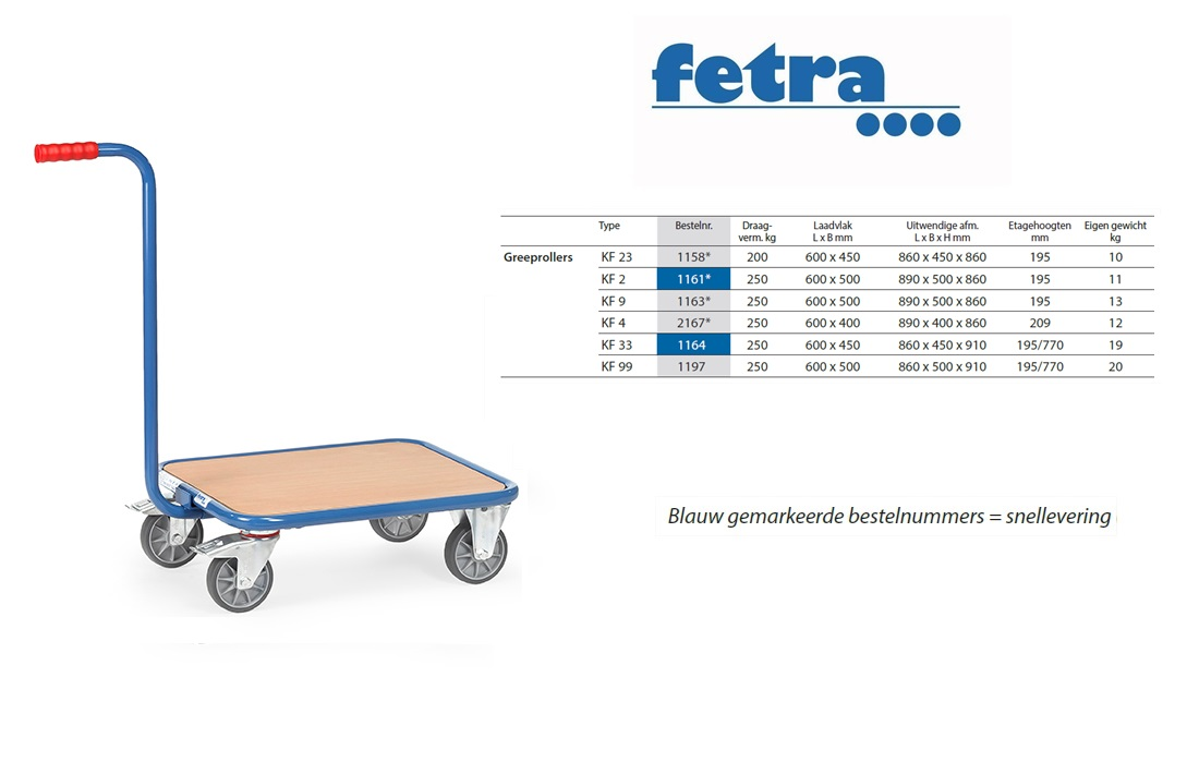 Greeproller met duwstang KF 2 Laadvlak 600 x 500 mm Fetra 1161