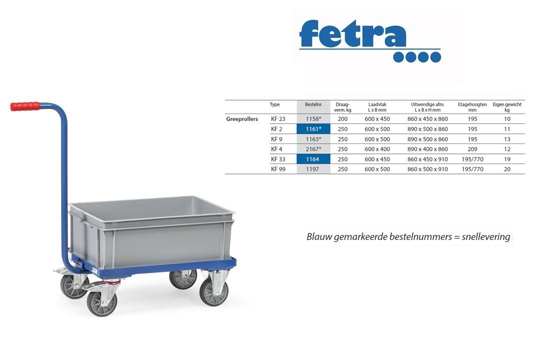 Greeproller met duwstang KF 4 Laadvlak 600 x 400 mm Fetra 2167