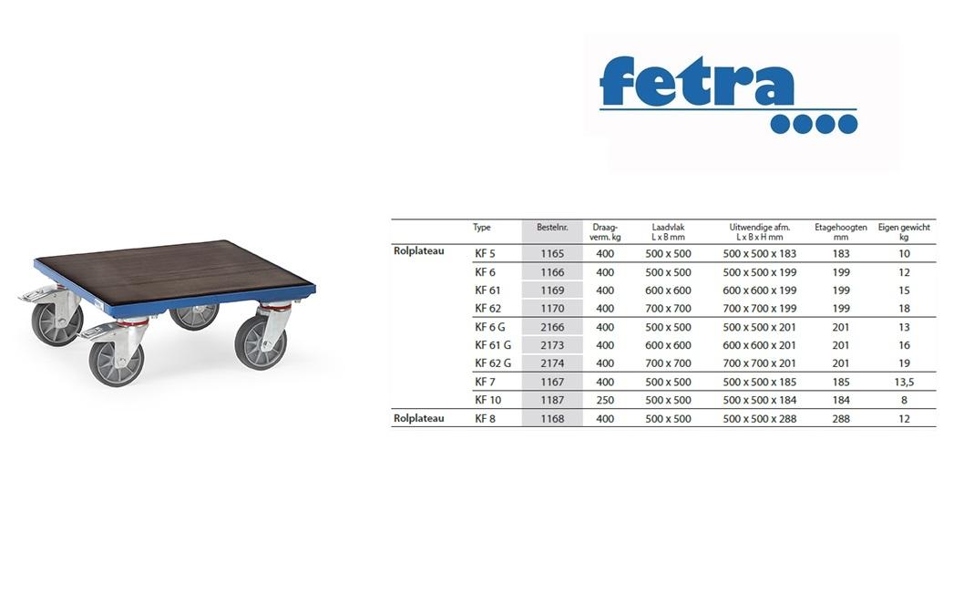 Rolplateau KF 6 G - rubber Laadvlak 500 x 500 mm Fetra 2166