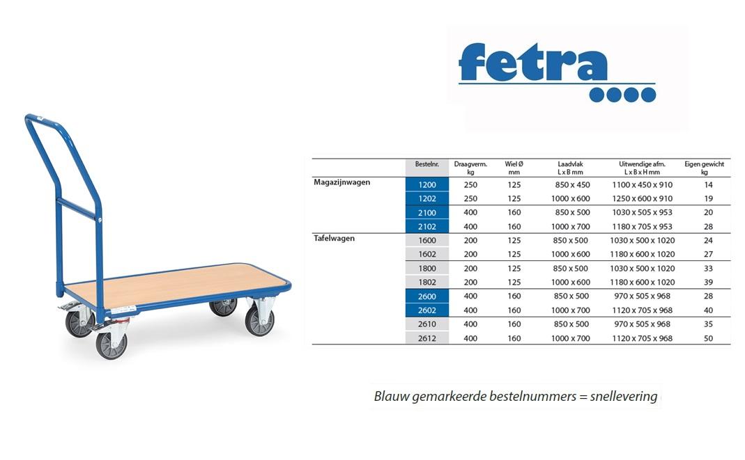 Magazijnwagen 1200 Laadvlak 850 x 450 mm Fetra 1200