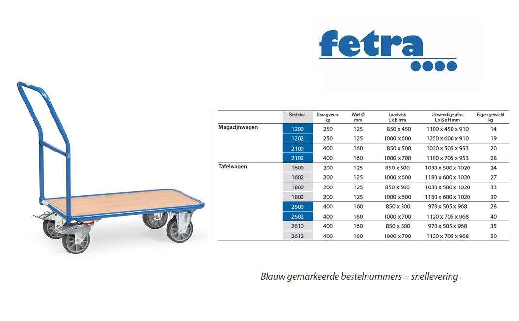Magazijnwagen 2100 Laadvlak 850 x 500 mm Fetra 2100