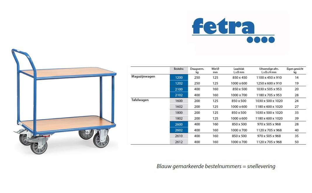 Tafelwagen 2600 Laadvlak 850 x 500 mm Fetra 2600