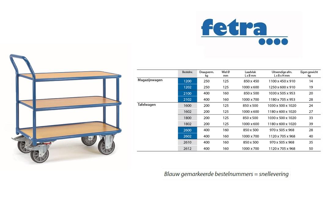 Tafelwagen 2610 Laadvlak 850 x 500 mm Fetra 2610
