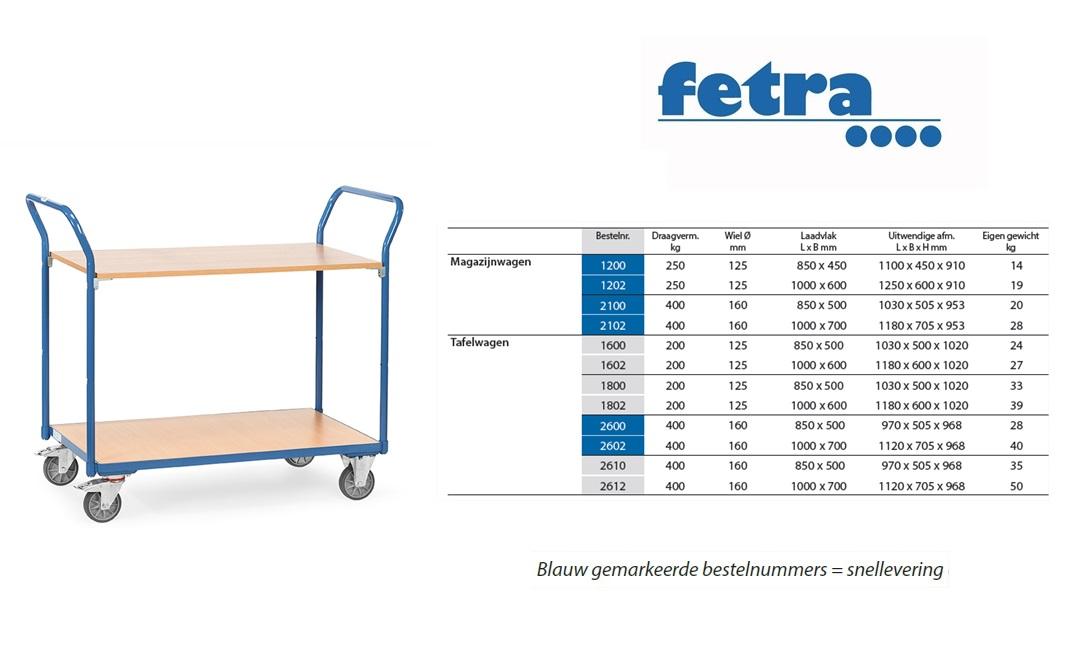 Tafelwagen 1600 Laadvlak 850 x 500 mm Fetra 1600