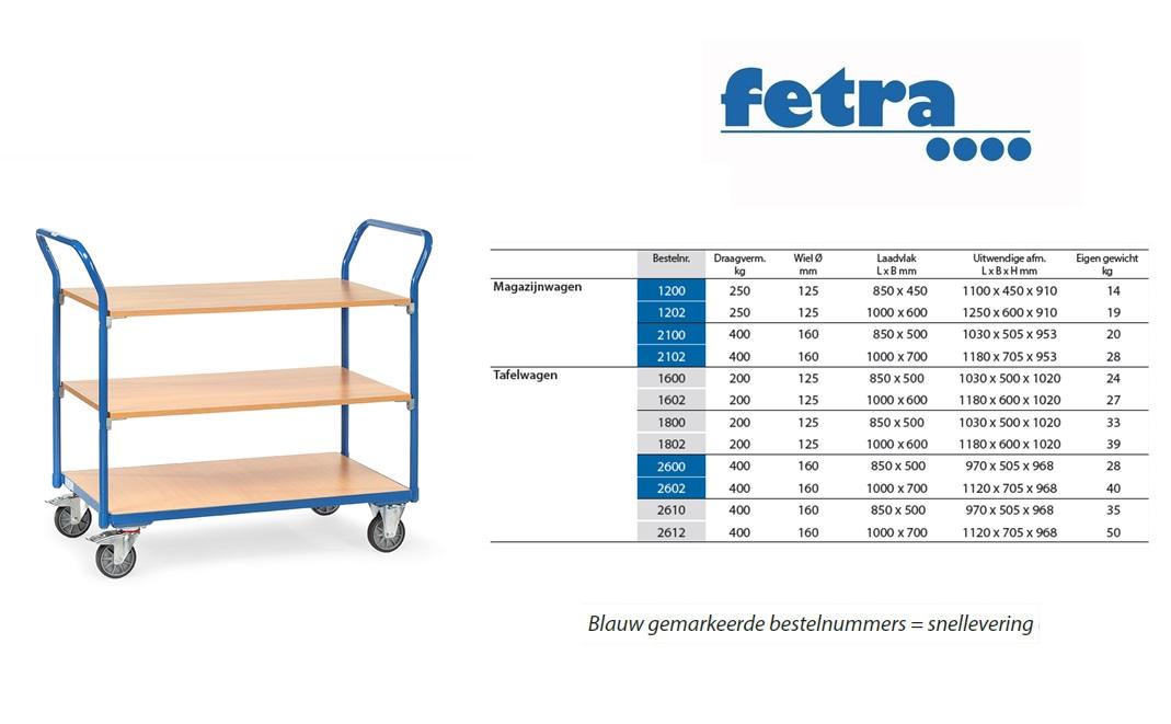 Tafelwagen 1800 Laadvlak 850 x 500 mm Fetra 1800
