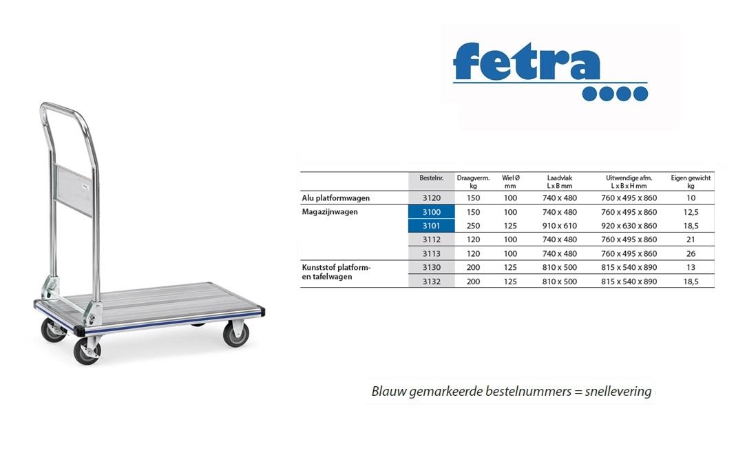 Alu platformwagen 3120 Laadvlak 740 x 480 mm Fetra 3120