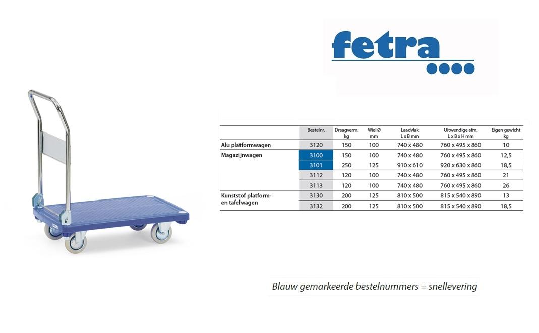 Kunststof platformwagen 3130 Laadvlak 810 x 500 mm Fetra 3130