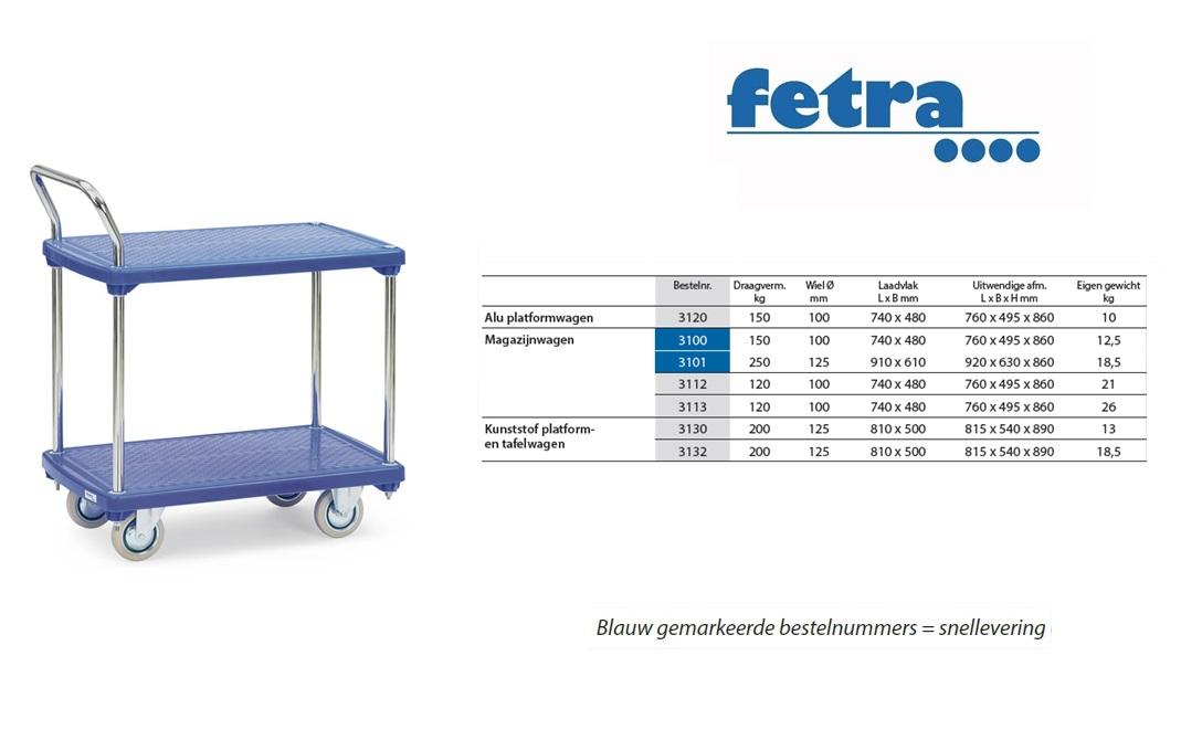 Kunststof tafelwagen 3132 Laadvlak 810 x 500 mm Fetra 3132