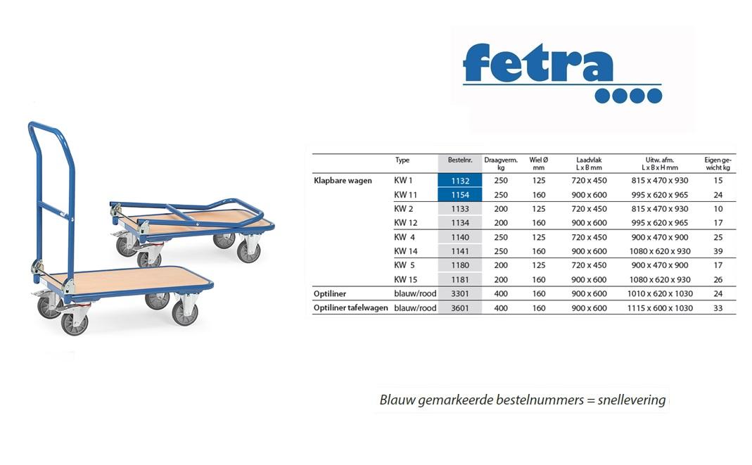 Klapbare platformwagen KW 1 Laadvlak 720 x 450 mm Fetra 1132