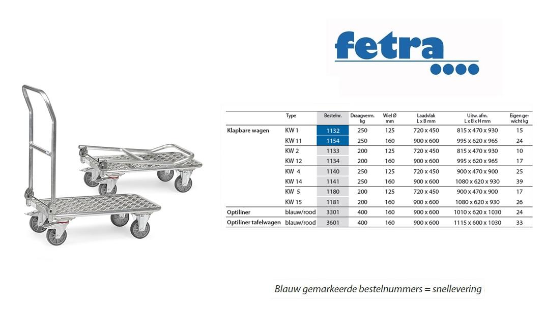 Klapbare platformwagen KW 2 - Alu Laadvlak 720 x 450 mm Fetra 1133