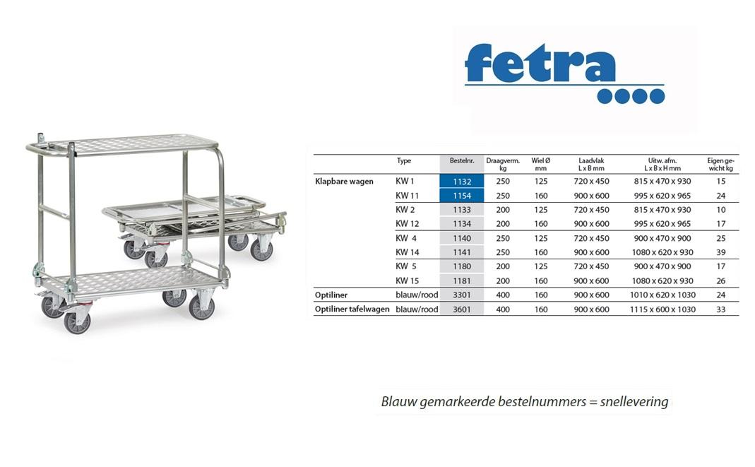 Klapbare tafelwagen KW 5 - Alu Laadvlak 720 x 450 mm Fetra 1180