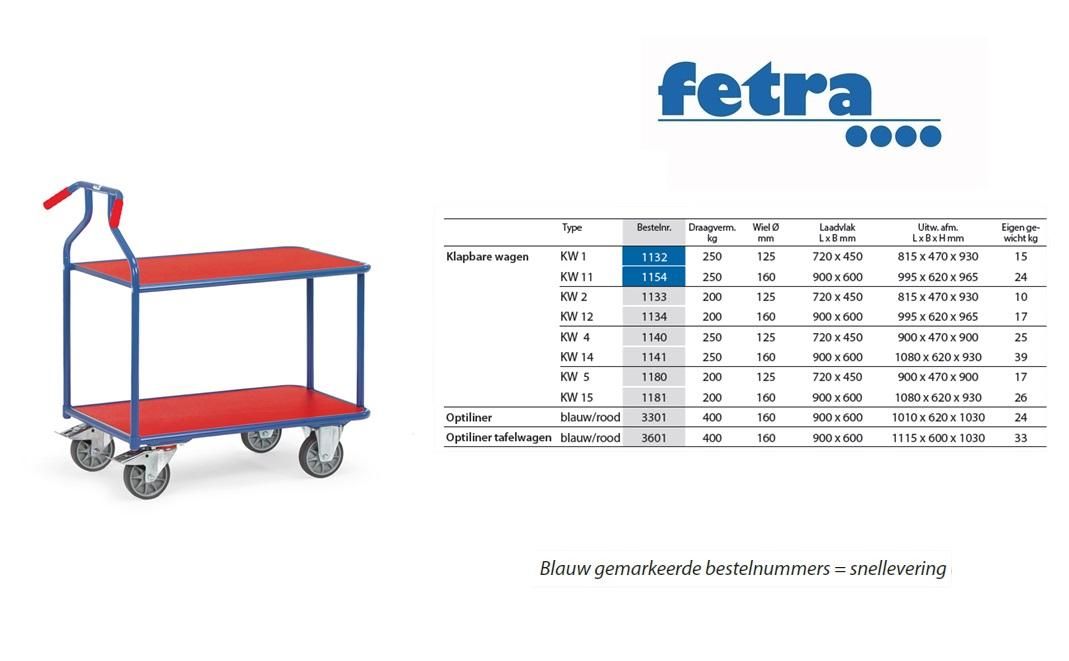 Optiliner tafelwagen 3601 - blauw/rood Laadvlak 900 x 600 mm Fetra 3601