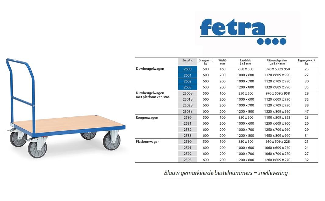 Duwbeugelwagen 2500 Laadvlak 850 x 500 mm Fetra 2500