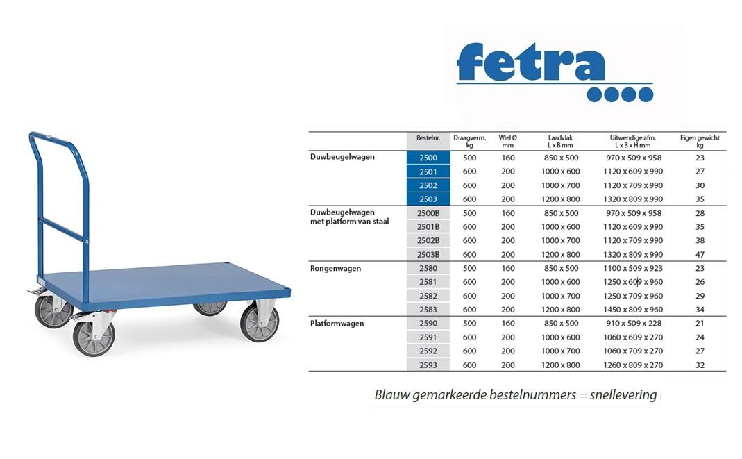 Duwbeugelwagen 2500B met platform van staal Laadvlak 850 x 500 mm Fetra 2500B