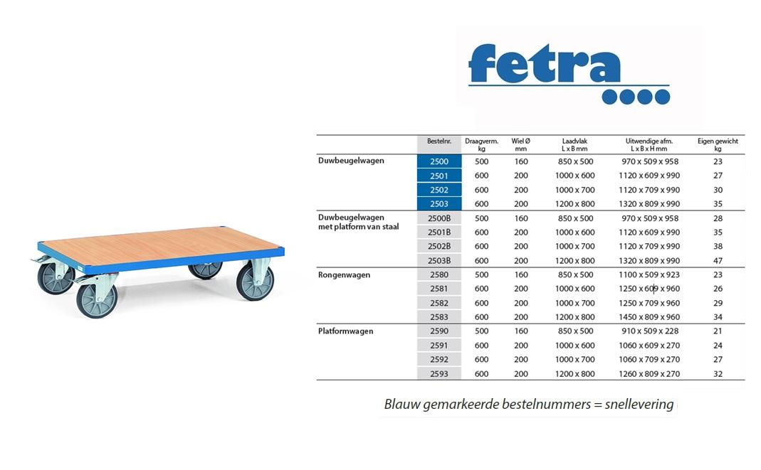 Platformwagen 2590 Laadvlak 850 x 500 mm Fetra 2590