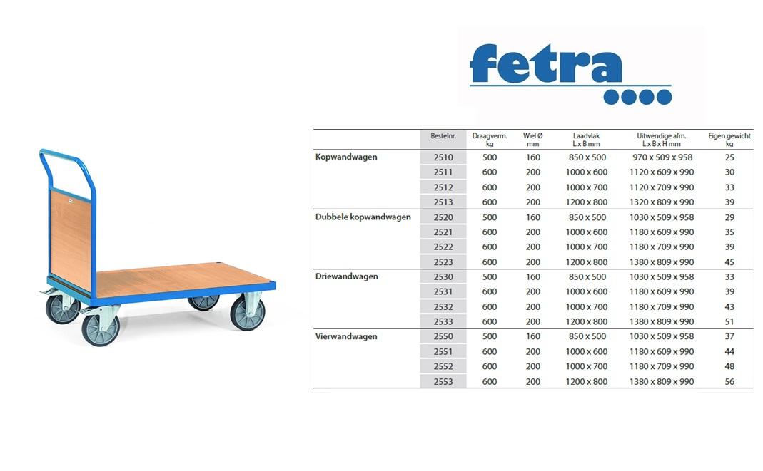 Kopwandwagen 2510 Laadvlak 850 x 500 mm Fetra 2510