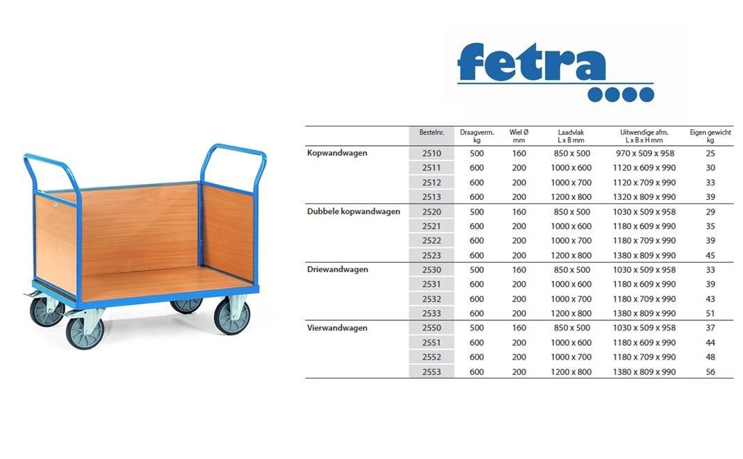 Driewandwagen 2530 Laadvlak 850 x 500 mm Fetra 2530