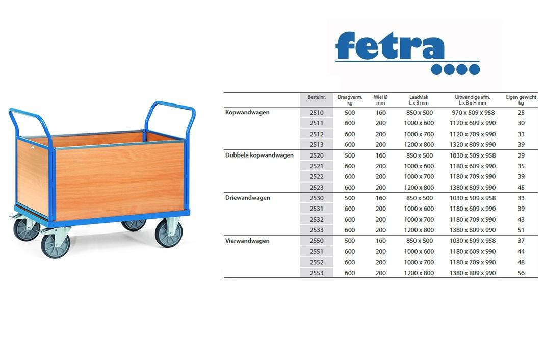 Vierwandwagen 2550 Laadvlak 850 x 500 mm Fetra 2550