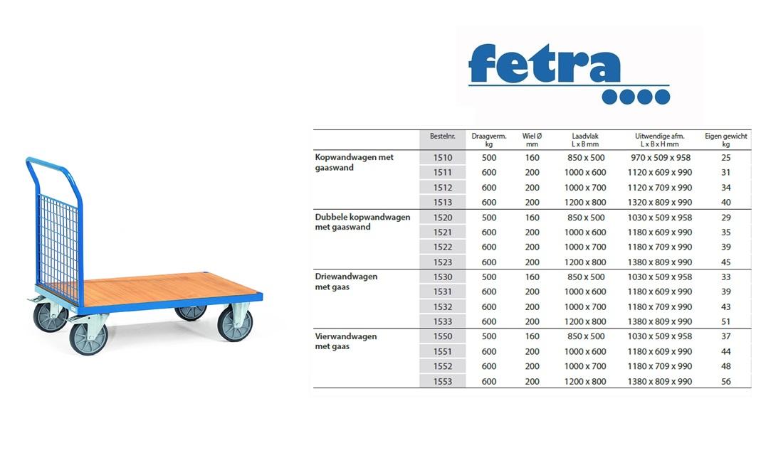 Kopwandwagen 1510 Laadvlak 850 x 500 mm Fetra 1510