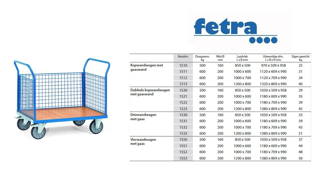 Driewandwagen 1530 Laadvlak 850 x 500 mm Fetra 1530