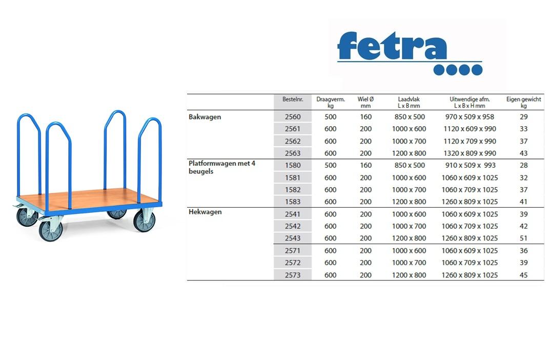 Platformwagen 1580 - 4 zijbeugels Laadvlak 850 x 500 mm Fetra 1580