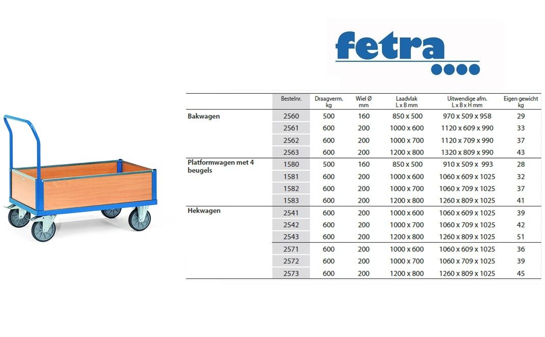 Bakwagen 2560 Laadvlak 850 x 500 mm Fetra 2560