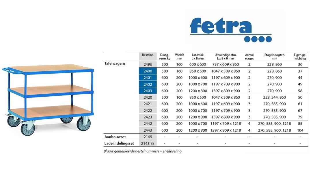 Tafelwagen 2420 Laadvlak 850 x 500 mm Fetra 2420