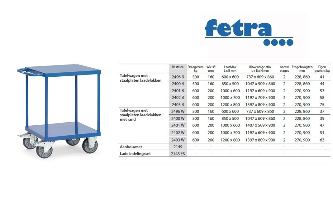Tafelwagen 2496B met laadvlak van staalplaat Laadvlak 600 x 600 mm Fetra 2496B