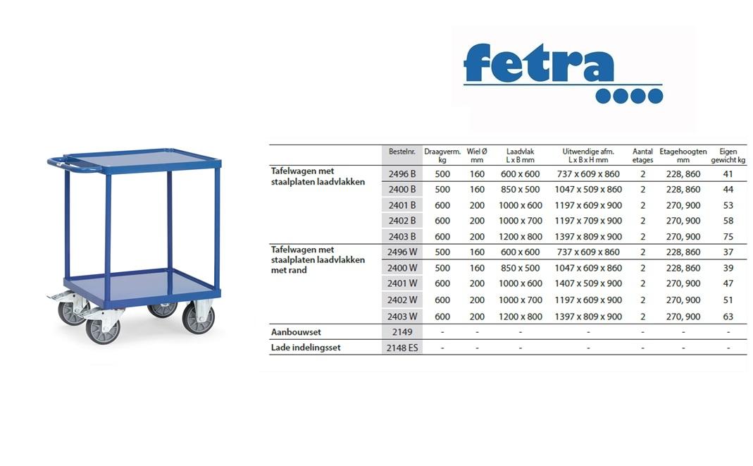 Tafelwagen 2496B met laadvlak van staalplaat en rand Laadvlak 600 x 600 mm Fetra 2496W