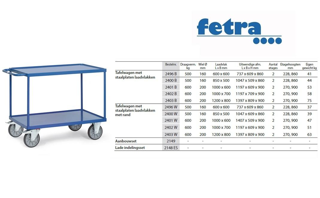 Tafelwagen 2400W met laadvlak van staalplaat en rand Laadvlak 850 x 500 mm Fetra 2400W