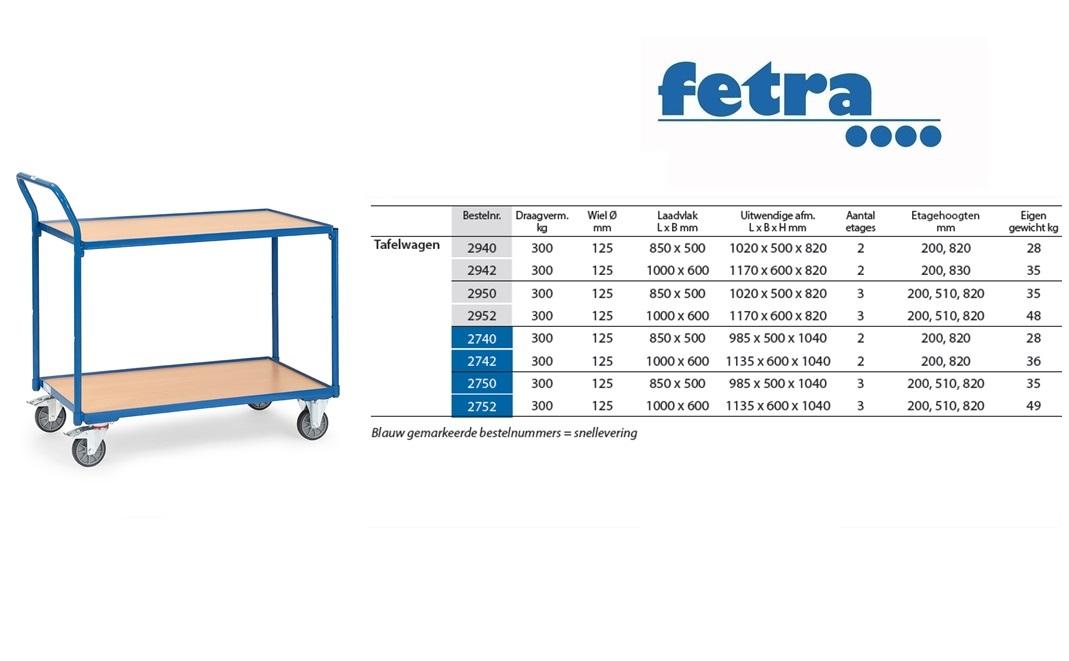 Tafelwagen 2740 Laadvlak 850 x 500 mm Fetra 2740