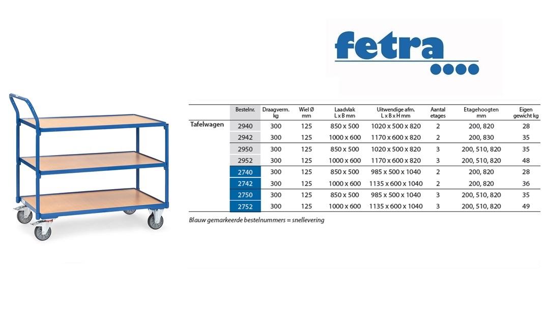 Tafelwagen 2750 Laadvlak 850 x 500 mm Fetra 2750